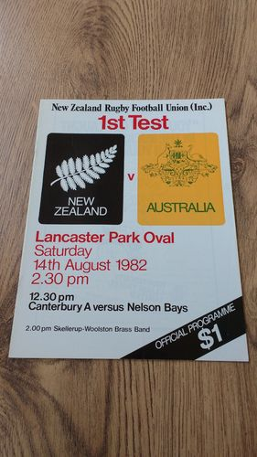 New Zealand v Australia 1982 1st Test Rugby Programme