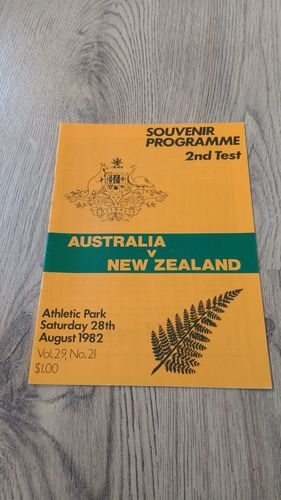 New Zealand v Australia 1982 2nd Test Rugby Programme