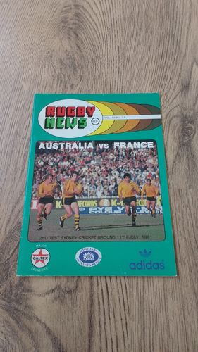 Australia v France 1981 2nd Test Rugby Programme