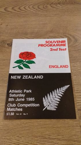 New Zealand v England 1985 2nd Test Rugby Programme