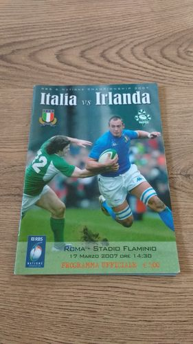Italy v Ireland 2007 Rugby Programme