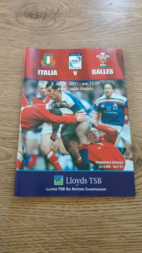 Italy v Wales 2001 Rugby Programme