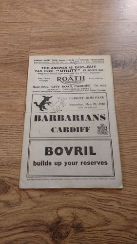 Cardiff v Barbarians 1948 Rugby Programme