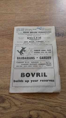 Cardiff v Barbarians 1950 Rugby Programme