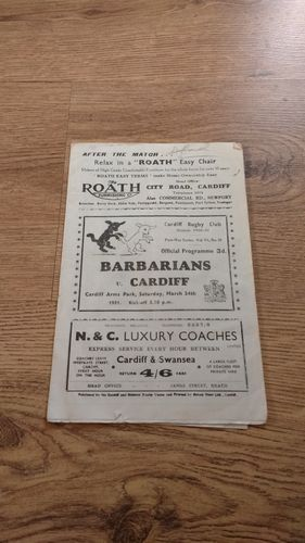Cardiff v Barbarians 1951 Rugby Programme