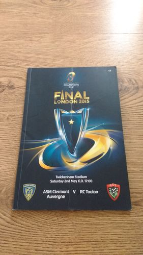 ASM Clermont Auverne v RC Toulon 2015 European Cup Final Rugby Programme