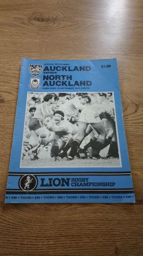 Auckland v North Auckland 1982 Rugby Programme
