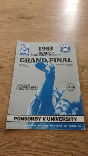 Ponsonby v University 1983 Grand Final Rugby Programme
