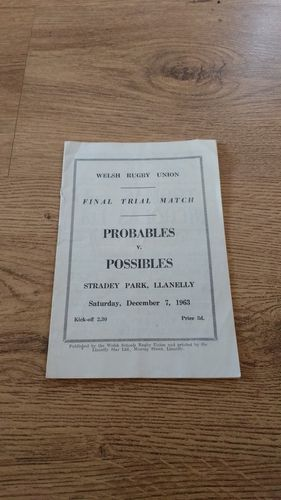 Probables v Possibles Final Welsh Trial 1963 Rugby Programme