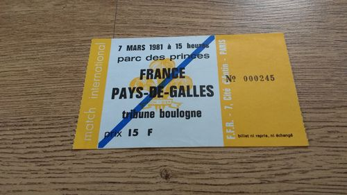 France v Wales 1981 Rugby Ticket