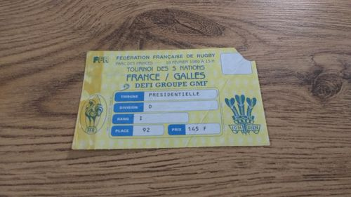 France v Wales 1989 Rugby Ticket