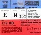 England Rugby Tickets / Pass - Used