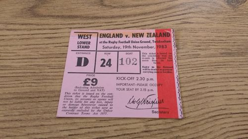 England v New Zealand 1983 Rugby Ticket
