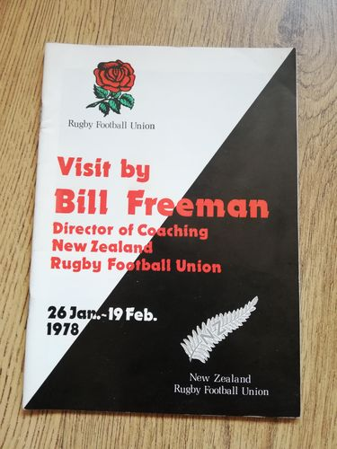 Bill Freeman Director of Coaching New Zealand 1978 Rugby Union Tour Itinerary