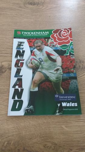 England v Wales 2007 World Cup Warm Up Rugby Programme