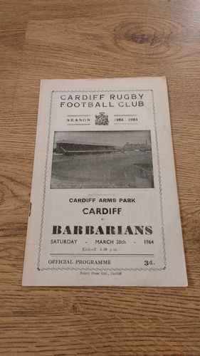 Cardiff v Barbarians Mar 1964 Rugby Programme