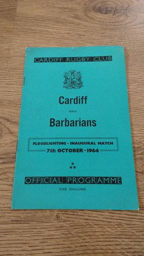 Cardiff v Barbarians Oct 1964 Rugby Programme