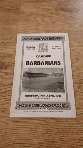 Cardiff v Barbarians 1965 Rugby Programme