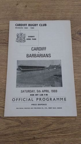 Cardiff v Barbarians 1969 Rugby Programme