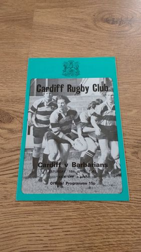 Cardiff v Barbarians 1981 Rugby Programme