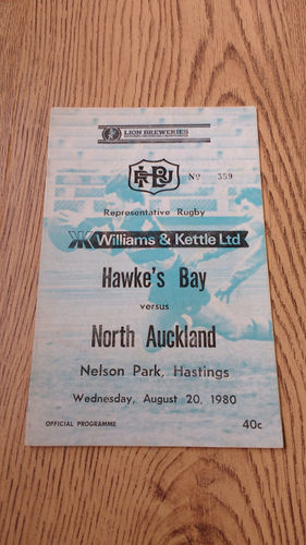 Hawkes Bay v North Auckland Aug 1980 Rugby Programme
