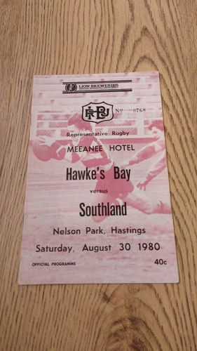 Hawkes Bay v Southland Aug 1980 Rugby Programme
