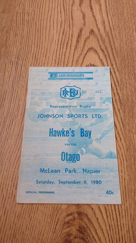 Hawkes Bay v Otago Sept 1980 Rugby Programme