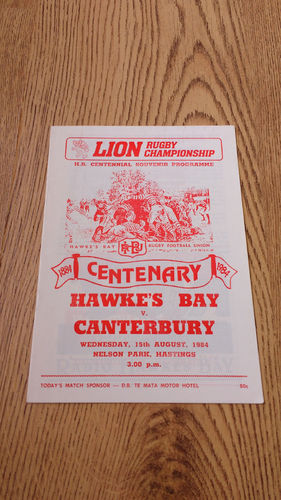Hawkes Bay v Canterbury Aug 1984 Rugby Programme