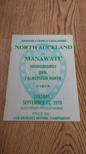 Manawatu v North Auckland Ranfurly Shield Sept 1978 Rugby Programme