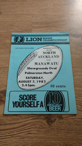 Manawatu v North Auckland Aug 1982 Rugby Programme