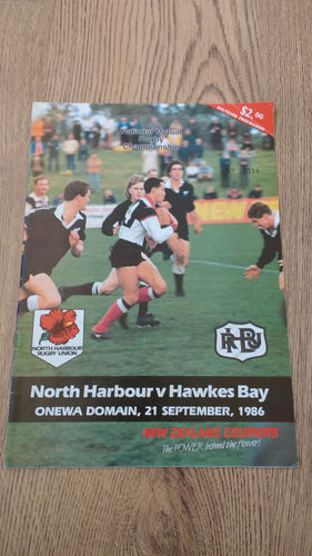 North Harbour v Hawkes Bay Sept 1986 Rugby Programme