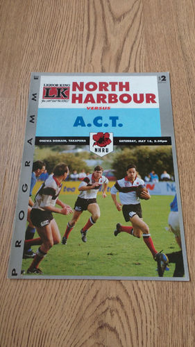 North Harbour v A.C.T. May 1992 Rugby Programme