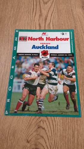 North Harbour v Auckland Aug 1993 Rugby Programme