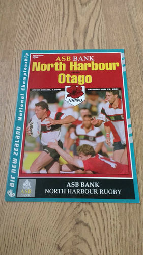 North Harbour v Otago May 1994 Rugby Programme