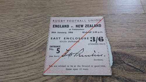England v New Zealand 1954 Rugby Ticket