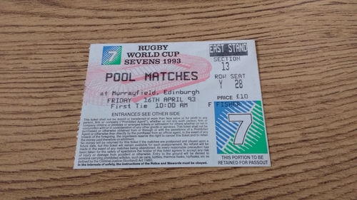 Rugby World Cup Sevens 1993 Pool Matches Ticket : 16-04-1993