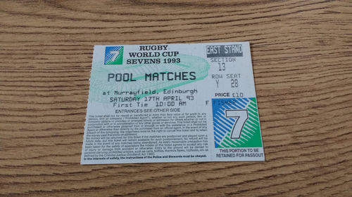 Rugby World Cup Sevens Pool Matches Ticket : 17-04-1993