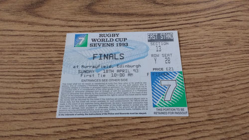 Rugby World Cup Sevens Finals Ticket : 18-04-1993