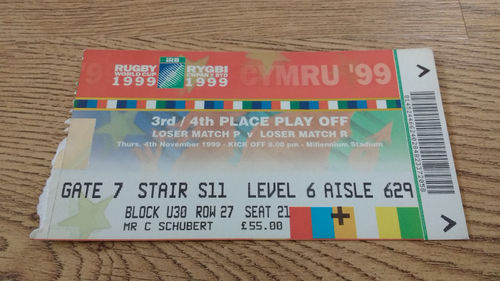New Zealand v South Africa 1999 RWC Play-Off Ticket