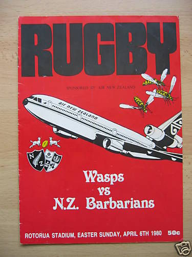 NZ Wasps v NZ Barbarians 1980 Rugby Programme