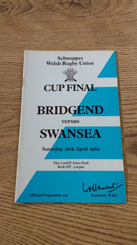 Bridgend v Swansea 1980 Welsh Cup Final Rugby Programme