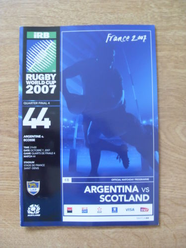 Argentina v Scotland 2007 Rugby World Cup Q-Final Programme