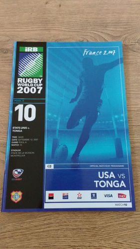 USA v Tonga 2007 Rugby World Cup Programme