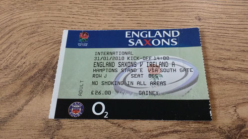England Saxons v Ireland A 2010 Rugby Ticket