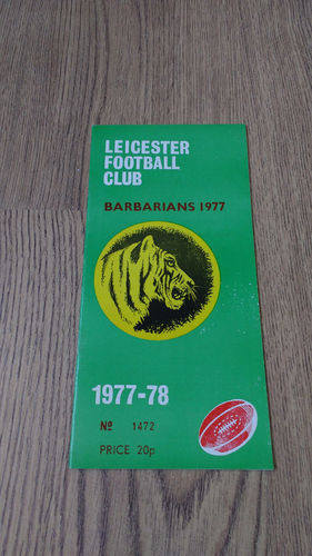 Leicester v Barbarians Dec 1977 Rugby Programme