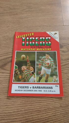 Leicester v Barbarians Dec 1992 Rugby Programme