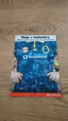Otago v Canterbury Sept 2001 Rugby Programme