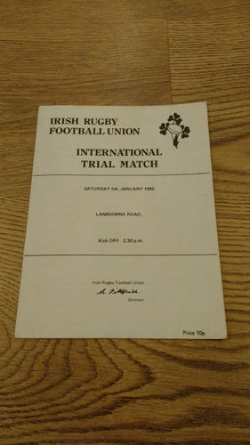 Blues v Whites Ireland Trial 1980 Rugby Programme