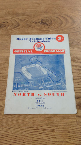 North v South 1934 England Rugby Union Trial Programme