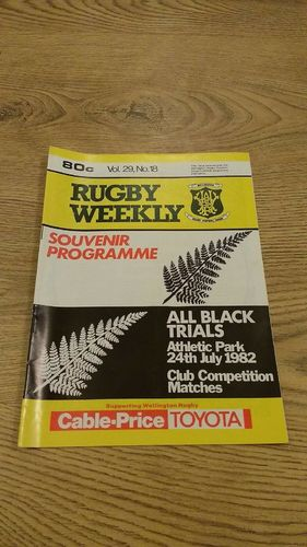 Probables v Possibles All Black Trials 1982 Rugby Programme